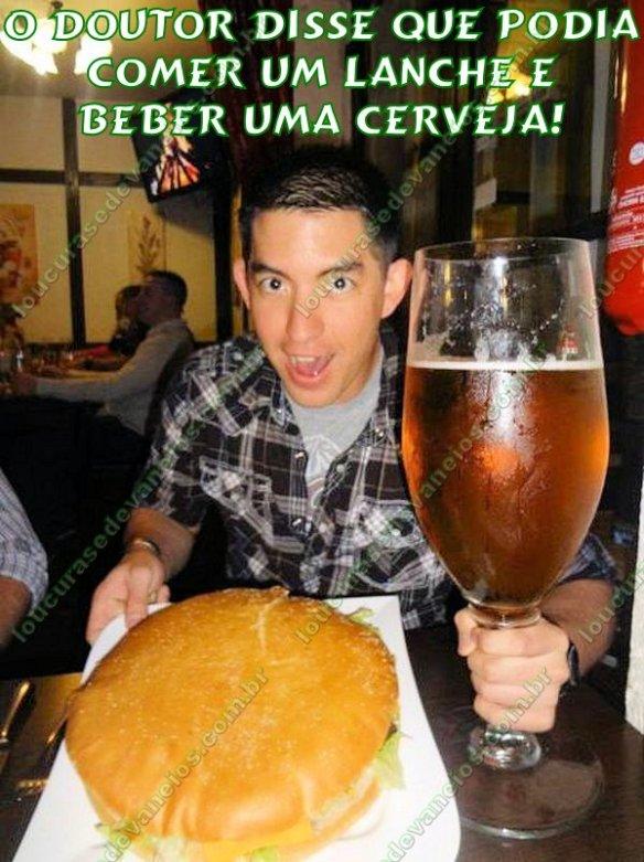 1 lanche e 1 cerveja