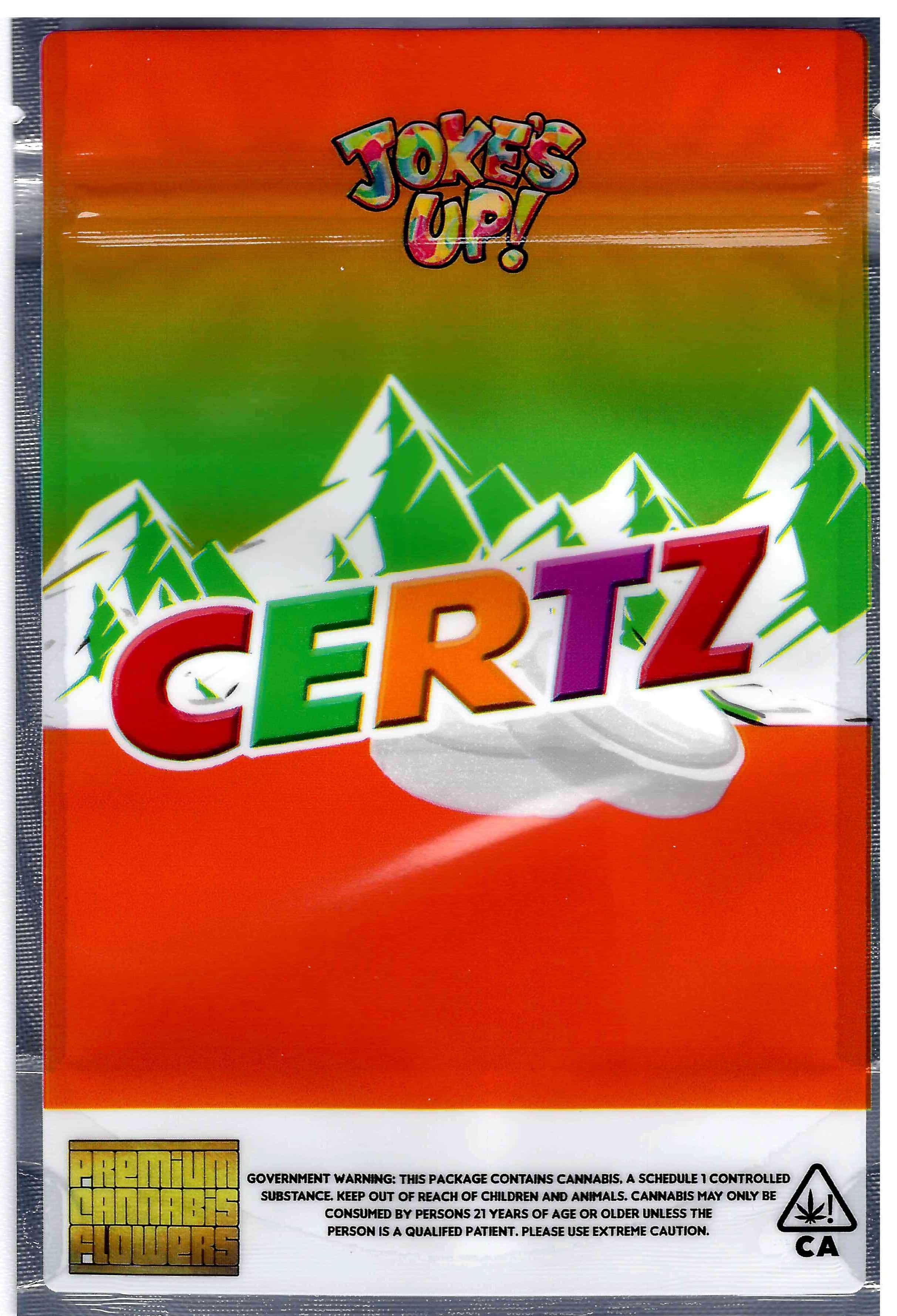 Certz 3.5G 7G Mylar Bags Jokes Up Cookies Runtz gas House
