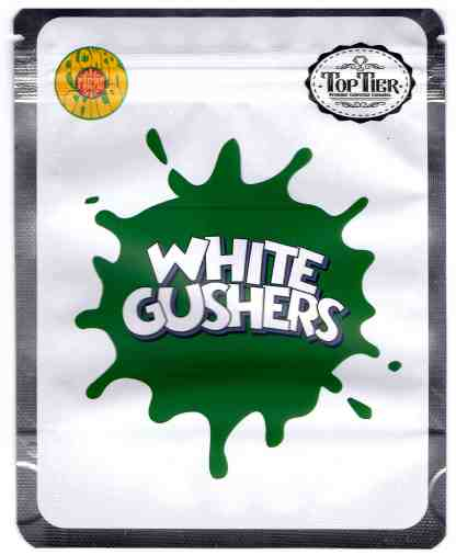 Top Tier - White Gushers Mylar Bags & Labels (front)