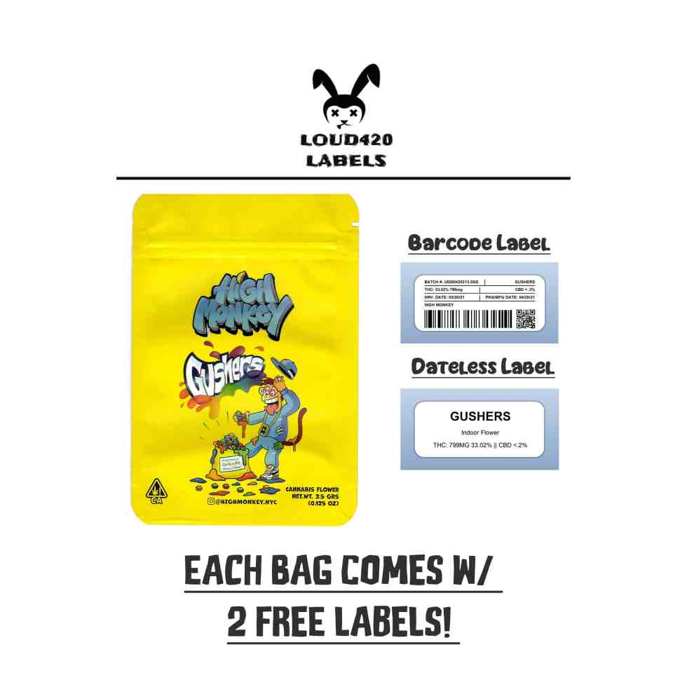 High Monkey - Gushers Mylar Bags and Labels