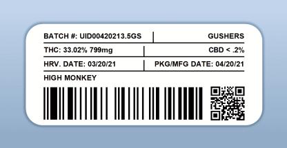 High Monkey - Gushers (barcode label)