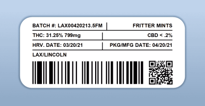 LAX - Fritter Mints (barcode label)