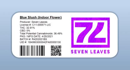 Seven Leaves - Blue Slush (barcode label)