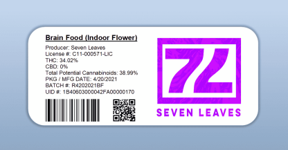 Seven Leaves - Brain Food (barcode label)
