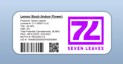 Seven Leaves - Lemon Slush (barcode label)