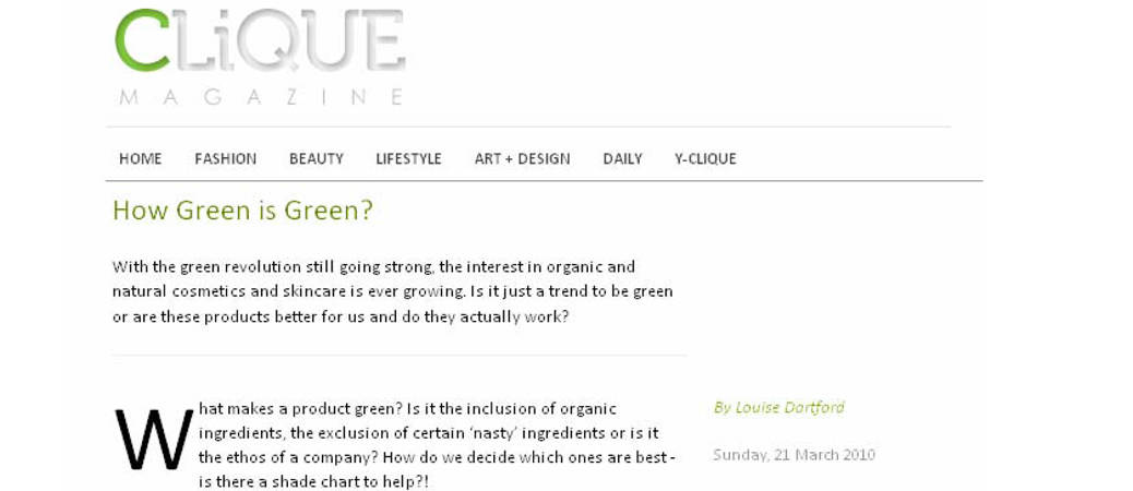How Green is Green? An article from the archives…