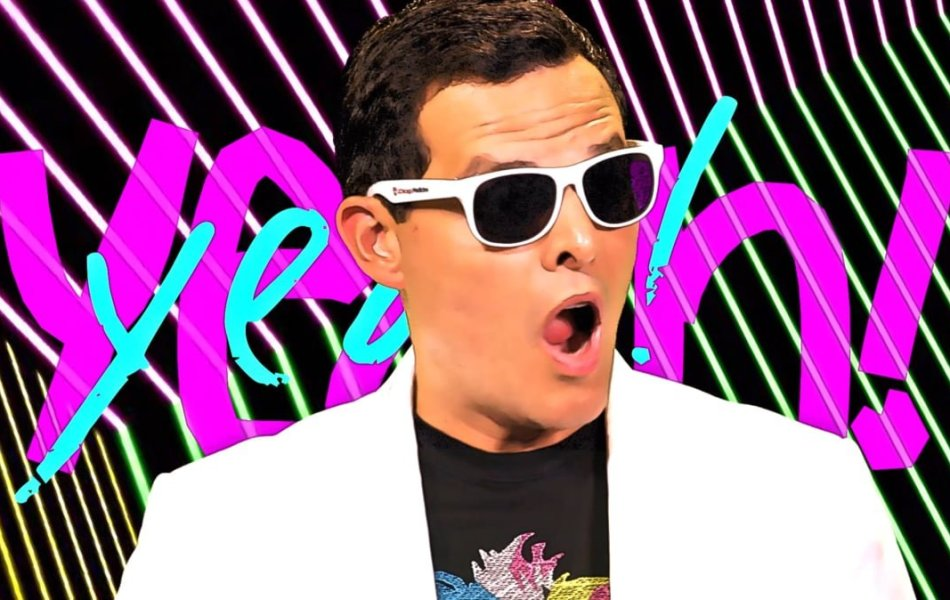 An 80's inspired photo of news anchorman, Dan Ponce with an animated background created by digital marketing company, Loudbyte to promote a new music video
