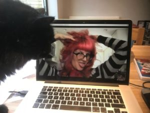 Allison Wolfe on skype with Cassie Fox (and Ernie the cat)