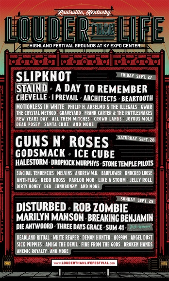 Louder Than Life 2019 lineup announced: Slipknot, Guns N' Roses, Disturbed headlining