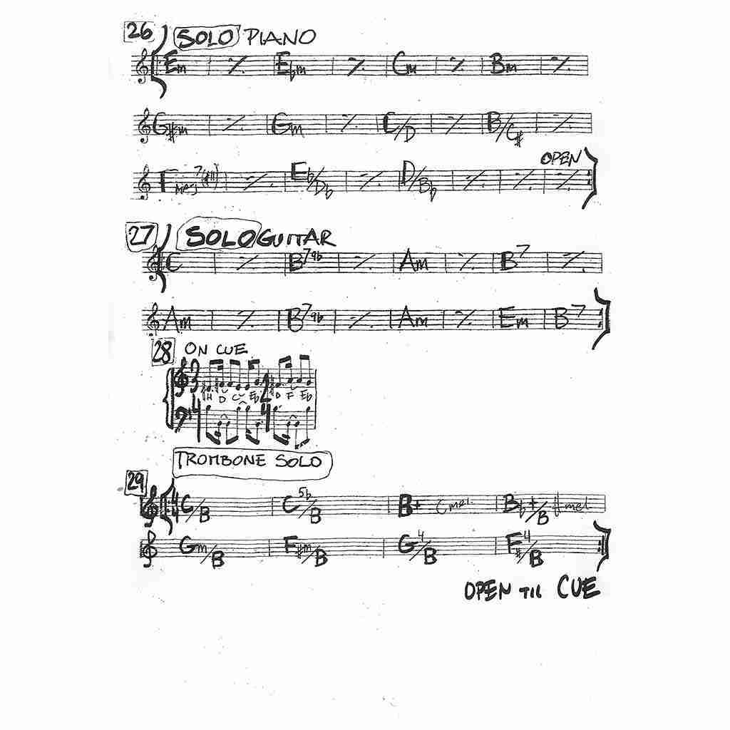 The Giant against The Girl - handwritted music sheets