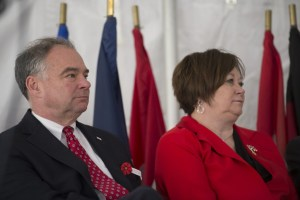 UNITED STATES - November 11, 2015 : The George C. Marshall International Center, the Town of Leesburg, and Loudoun County held a commemorate Veterans Day ceremony on the grounds of The Marshall House. Here Sen. Tim Kaine, D-VA., listens during the ceremony on the grounds of The Marshall House. (Photo By Douglas Graham/Loudoun Now)