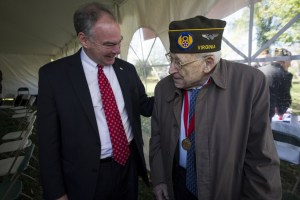 UNITED STATES - November 11, 2015 : The George C. Marshall International Center, the Town of Leesburg, and Loudoun County held a commemorate Veterans Day ceremony on the grounds of The Marshall House. Senator Tim Kaine, D-VA., and Stanley Caulkins talk during the ceremony on the grounds of The Marshall House. (Photo By Douglas Graham/Loudoun Now)