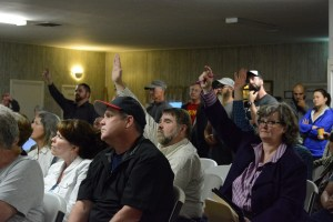 People at the meeting in Lovettsville wait to ask their questions. Loudouners still had plenty more questions when the meeting was cut off at two hours. (Renss Greene/Loudoun Now)