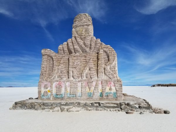 Dakar Bolivia Sign at Salar de Uyuni - Guy LeCharles Gonzalez, 2018