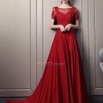 Formal Schön Abendkleider Lang Spitze Rot VertriebDesigner Einfach Abendkleider Lang Spitze Rot Ärmel