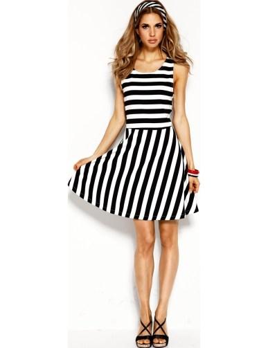 7a99b5926581 Designer Wunderbar Kleid Schwarz Weiß Gestreift Boutique