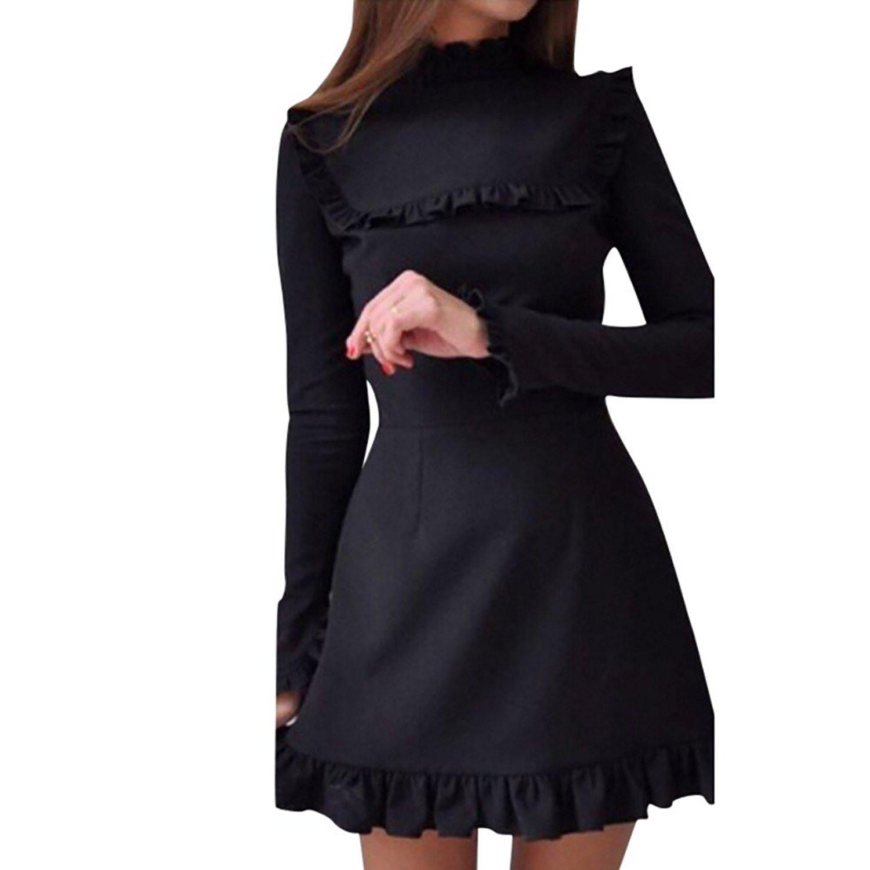 Schwarzes kleid langarm spitze