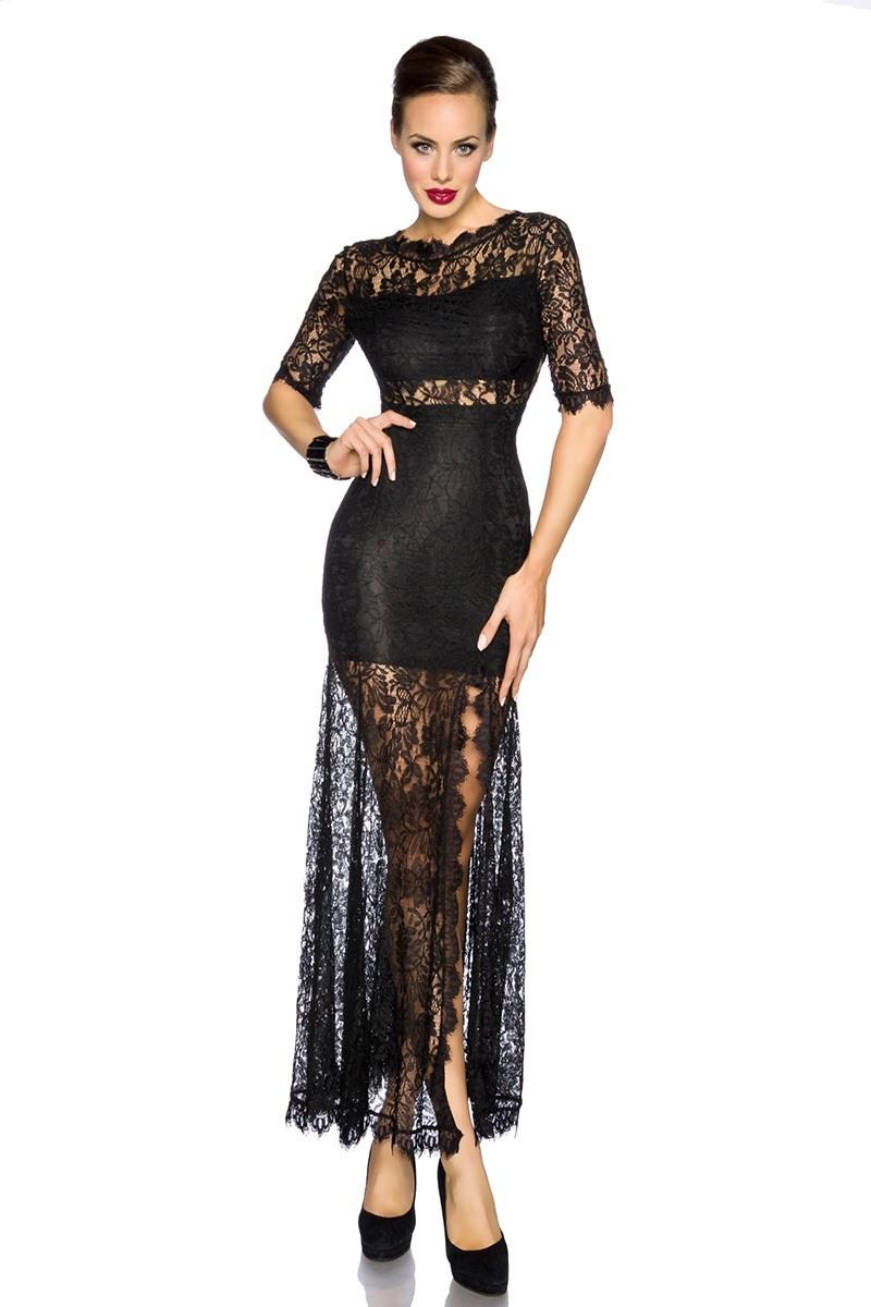 Kleid lang spitze schwarz