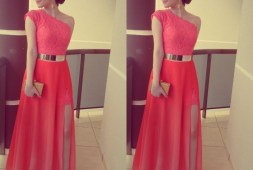 formal-einfach-langes-kleid-koralle-stylish