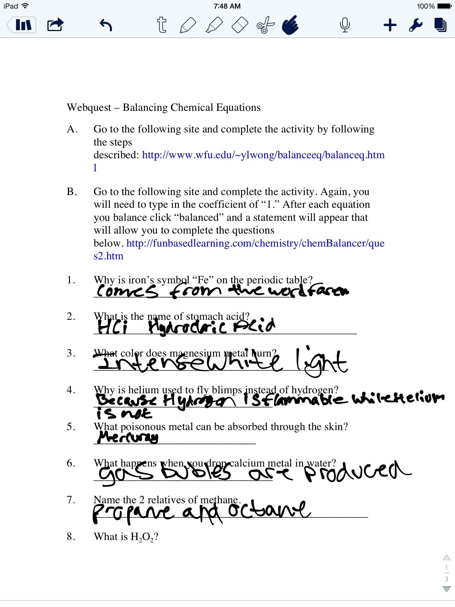 Balancing Equations Worksheet Answers