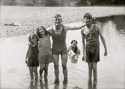 My grandfather and siblings, in their swimming suits!