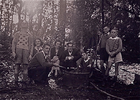 Campfire in a 44-gallon drum.