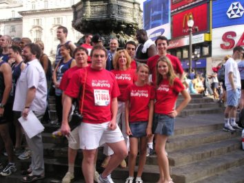 Photographed with supporters of the charity I set up Act Against Bullying at Eros in London before a 10 km run. I watched from the sidelines