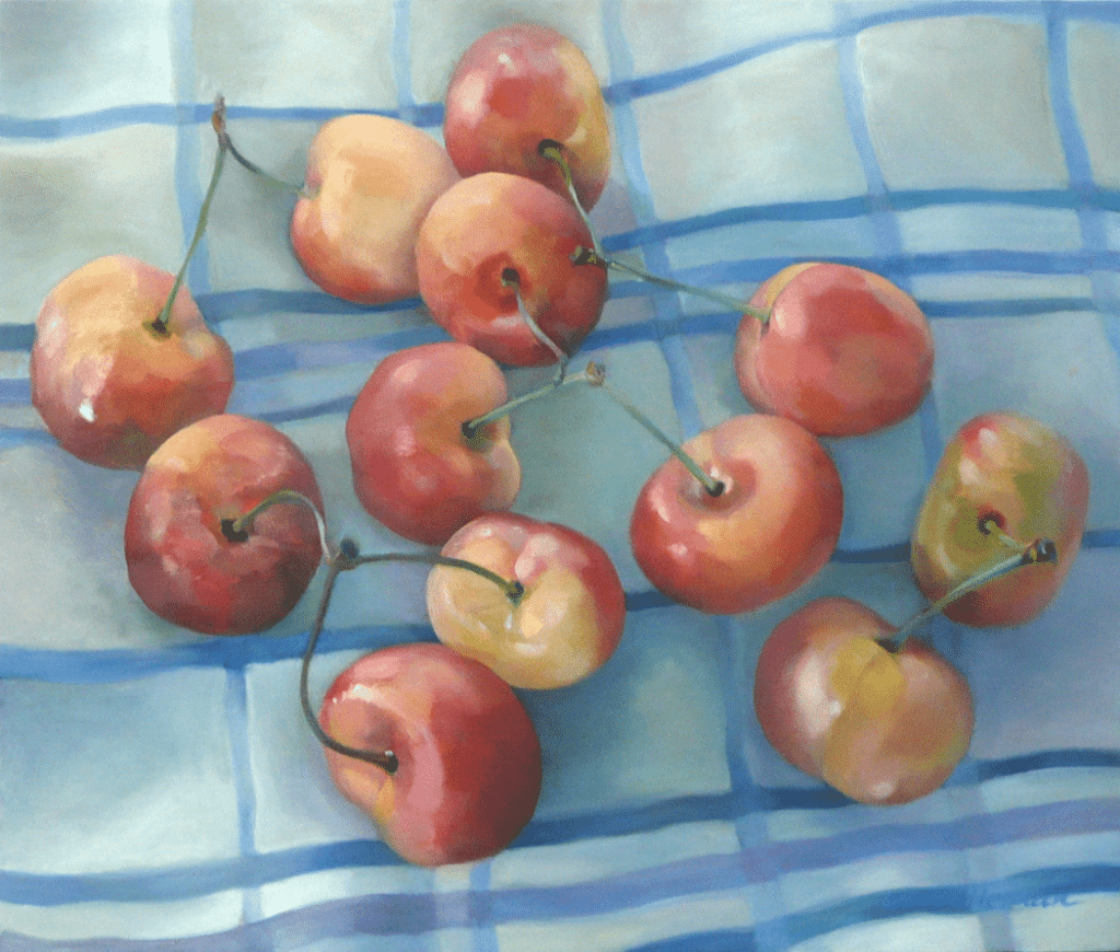 cherries-on-tablecloth-painting