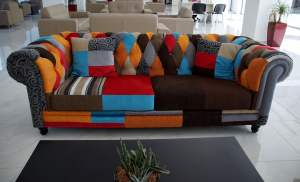 Multi-coloured sofa in a showroom.