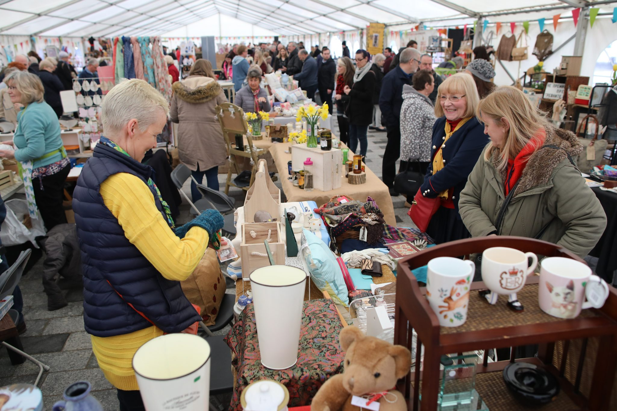 traders and shoppers inside the marquee at Stockton Chic Antique fair on 7th April 2018