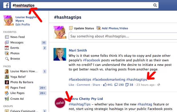 Risultati immagini per facebook hashtag