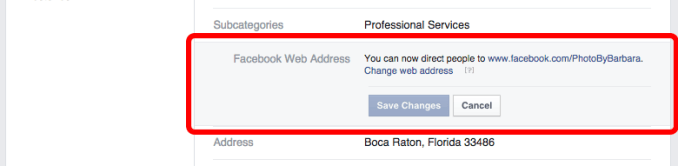 where to change your Facebook page URL step 2