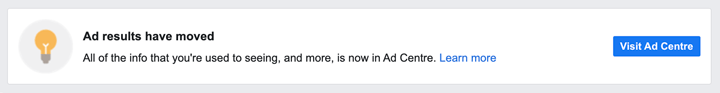 facebook ad insights message