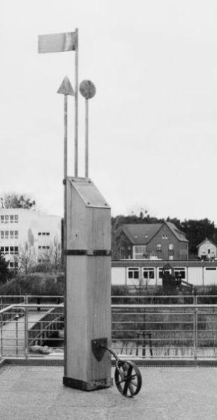 Holzsäule | Gymnasium in Templin | 2000,Eichenholz/Kupfer | 450x42x120cm