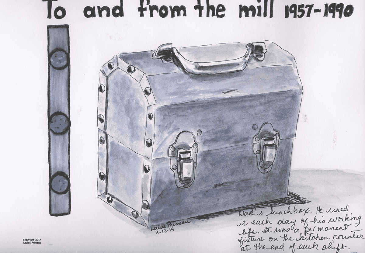 Dad's lunchpail in watercolour