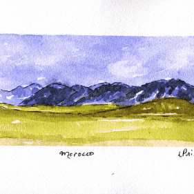 Experimenting with Moroccan landscapein sketchbook