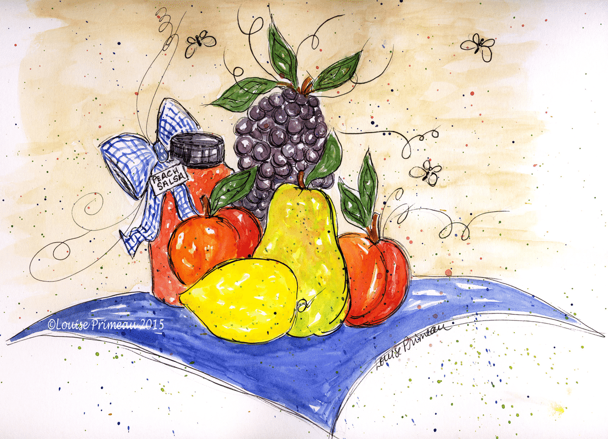 watercolour and ink picnic fruit