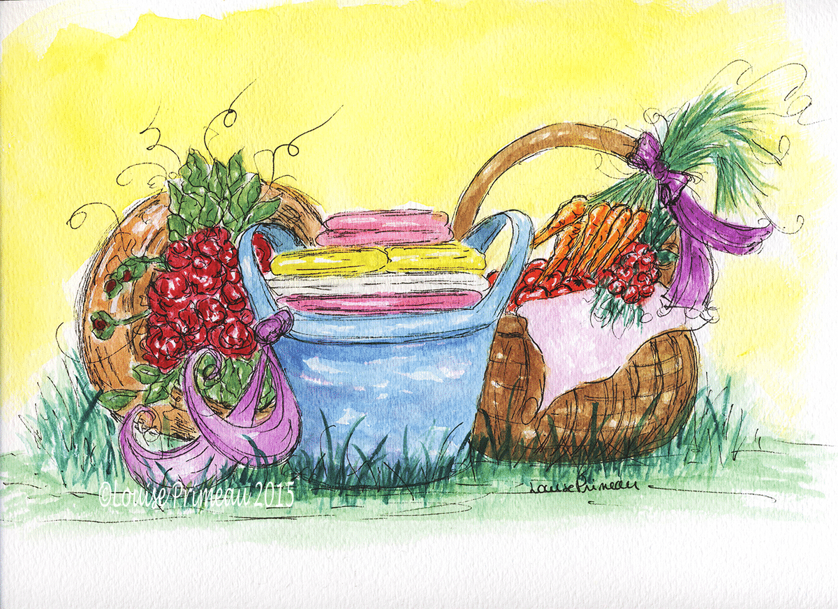 """""""Three Baskets"""" watercolour and ink on watercolour paper"""