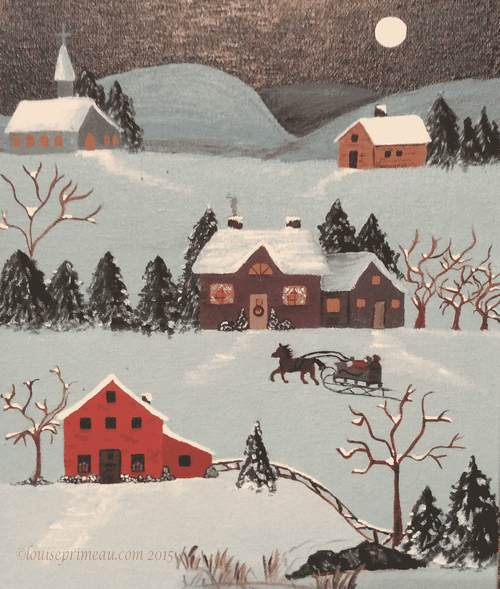 An after Christmas visit  - acrylic painting