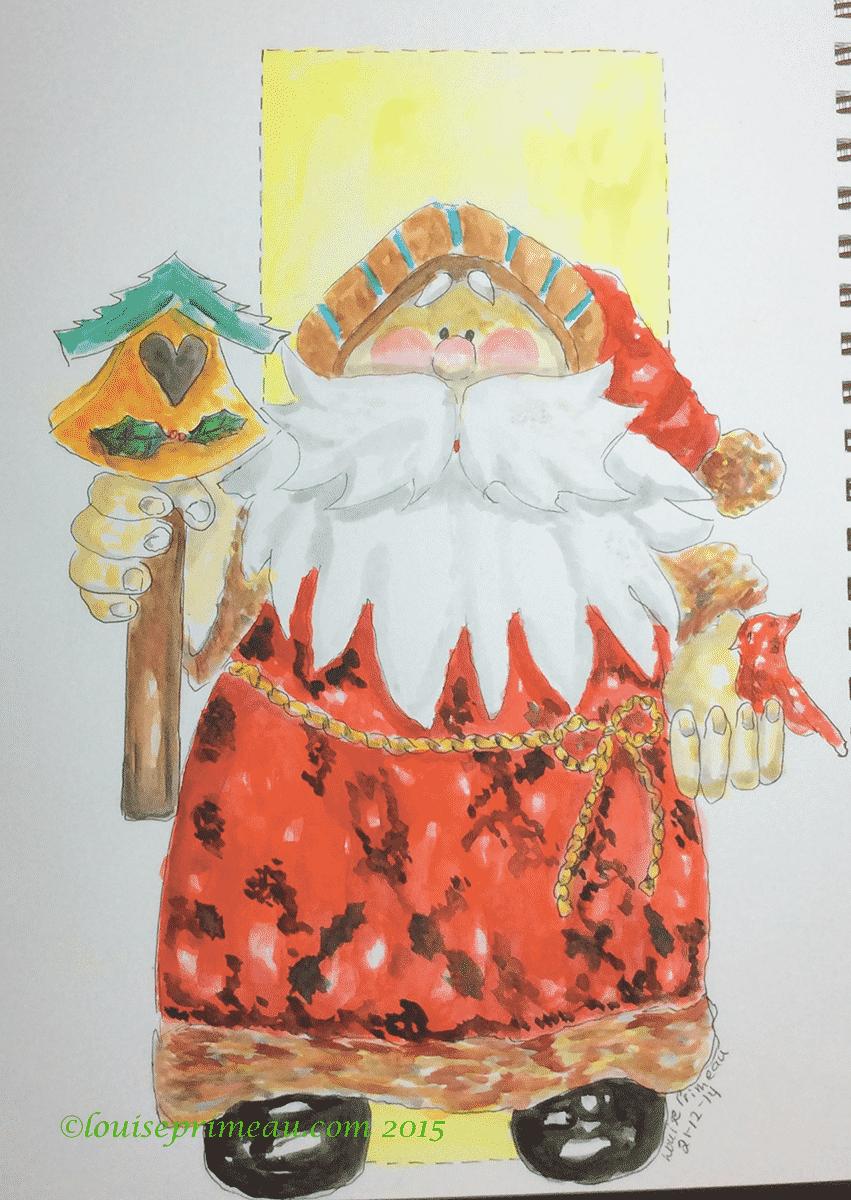 watercolour santa in sketchbook