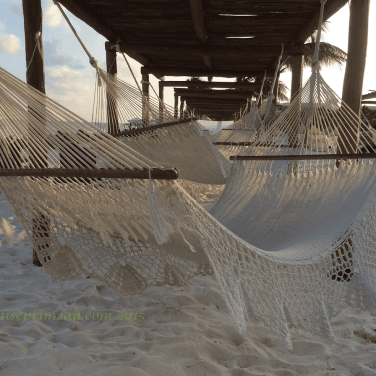 row of hammocks on the beach
