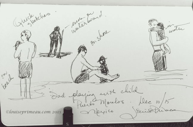 quick pen sketches on the beach