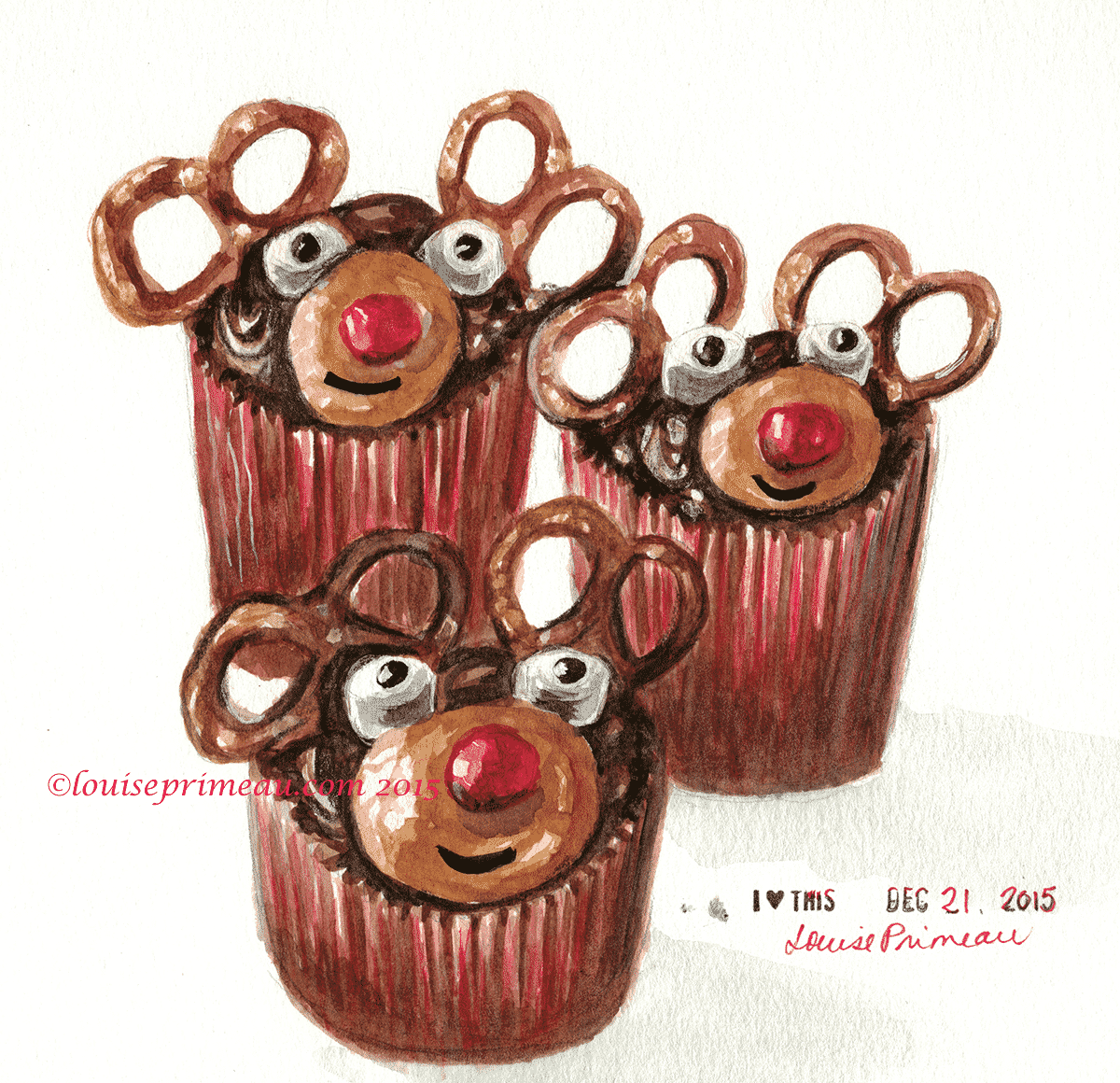watercolour reindeer cupcakes