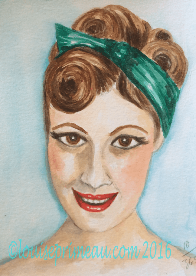 Victory rolls on vintage girl in watercolour