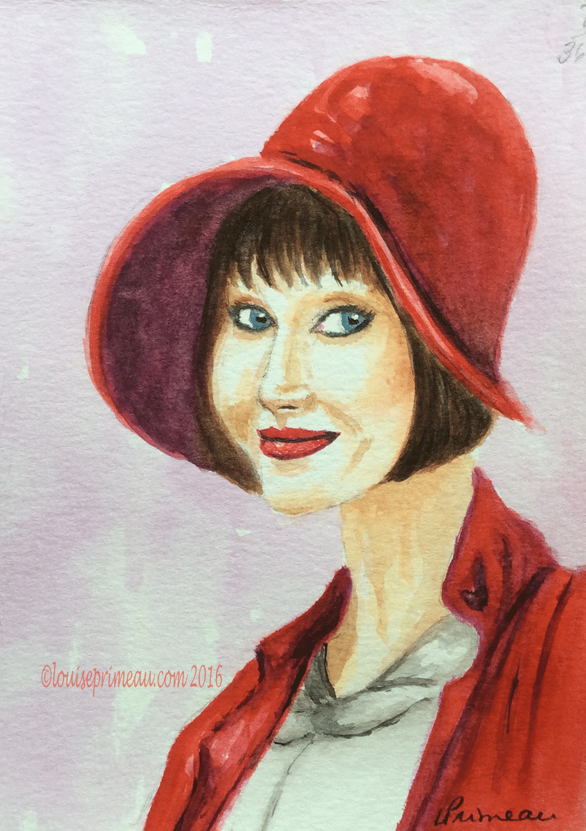watercolour study Lady in Red