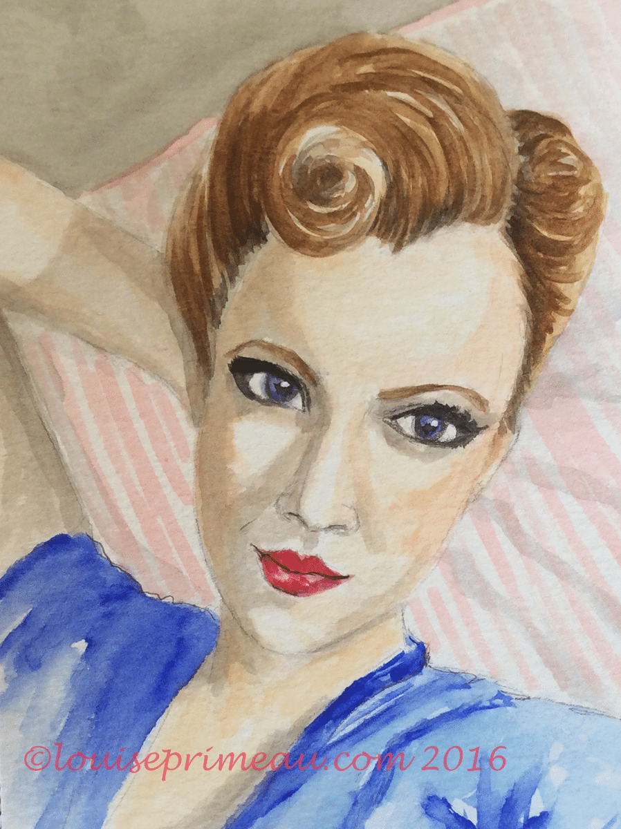 Vintage Victory Rolls watercolour girl