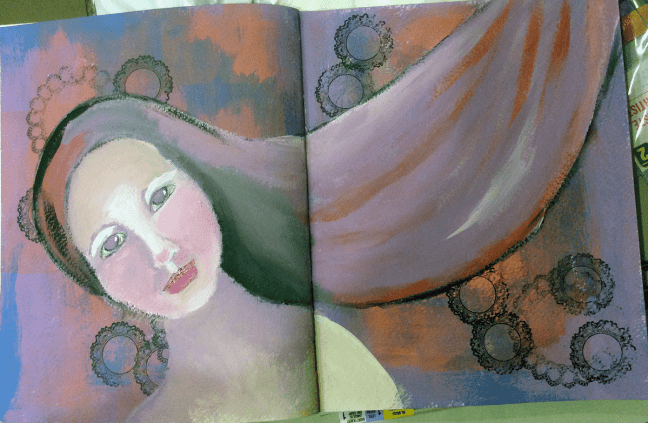 process of acrylic painting in journal