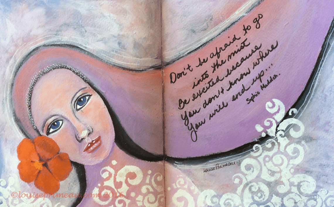 acrylic journal painting - She suddenly appeared out of the mist
