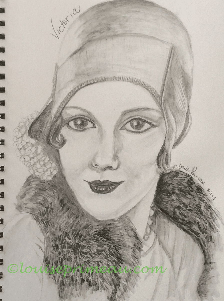 first sketch of vintage portrait