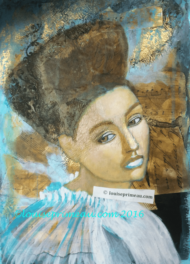 hair is added to mixed media princess